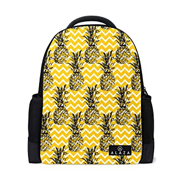 21d9189dcf41 Amazon.com: Fashion Student Backpack Cool Pineapple Print Yellow ...