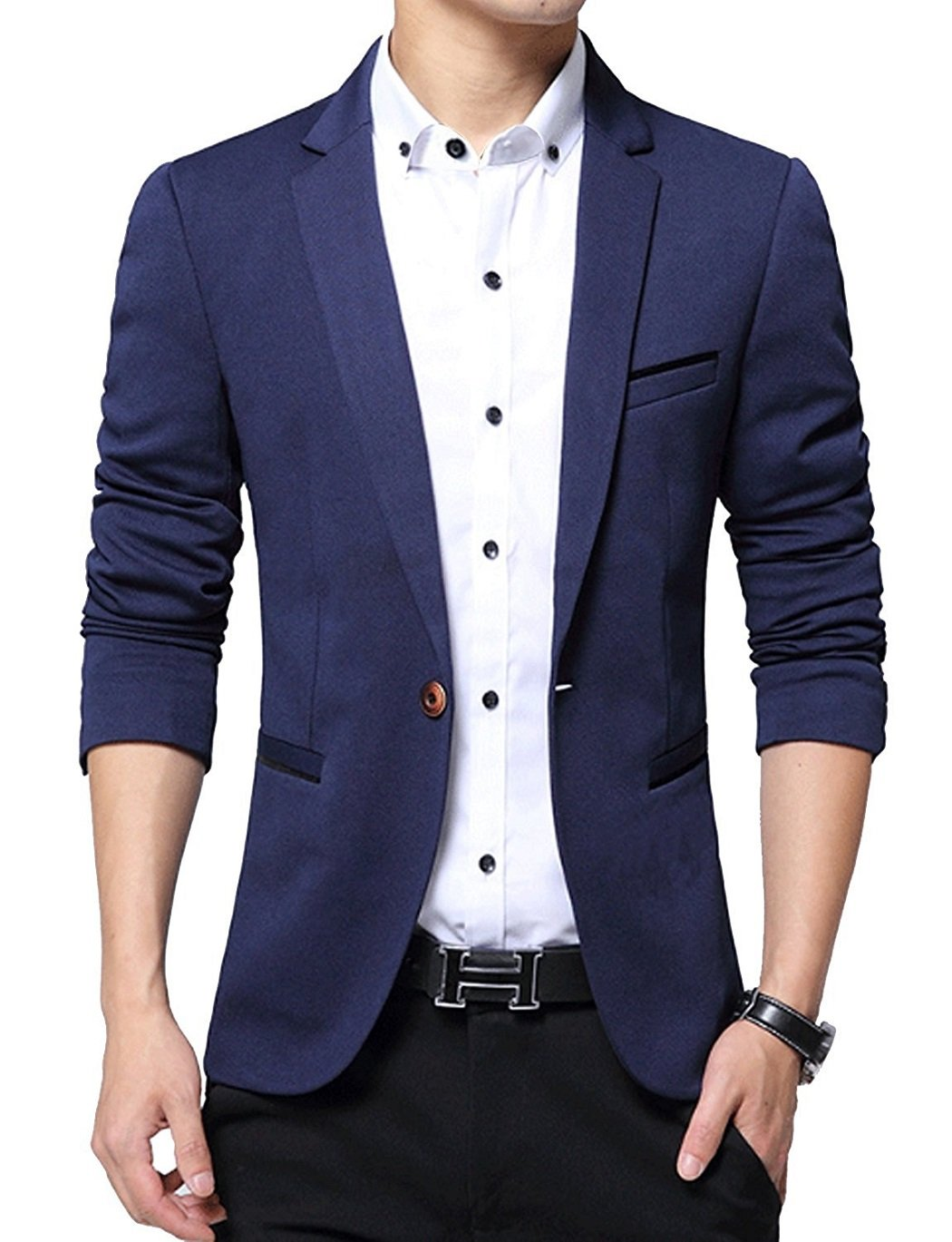 YIMANIE Mens Blazer Jacket Slim Fit Casual Single One Button Premium Lightweight Blazer Coat Navy Medium
