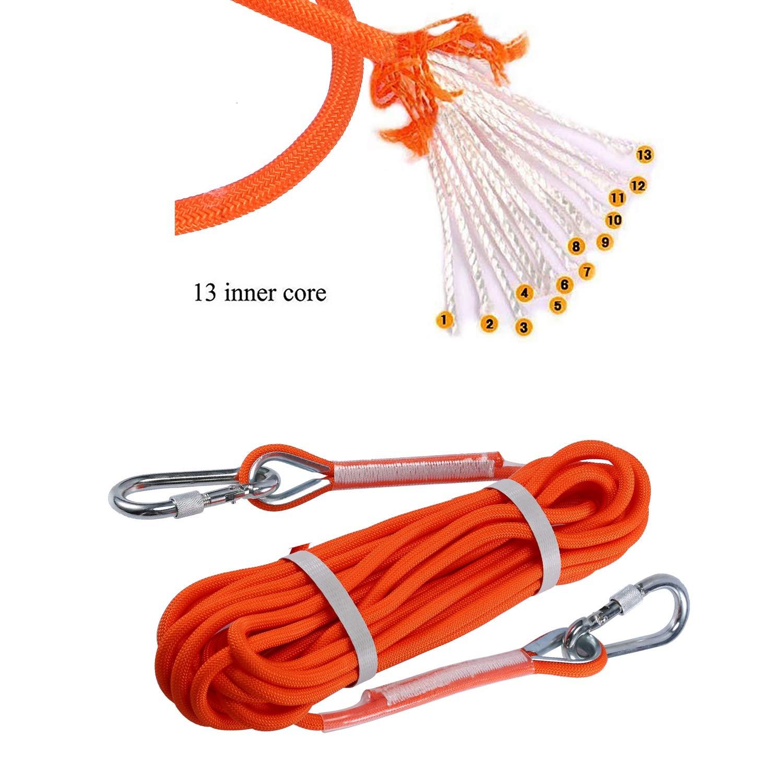 ENJOHOS Corde Escalade Cordettes Baudrier Paracorde Multifonctionnel en Polypropyl/ène 8 mm avec Boucles Mousquetons Orange pour Laisse Amarrage Escalade,Randonn/ée,Alpinisme,Parachute,Sauvetage