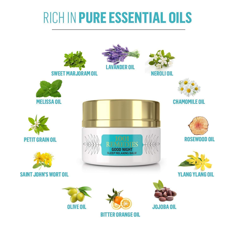 1001 Remedies Crema Ayuda para Dormir Good Night- Remedio Orgánico Relajante para la Ansiedad, Estrés, Insomnio - Loción Herbal con 11 Aceites Esenciales ...