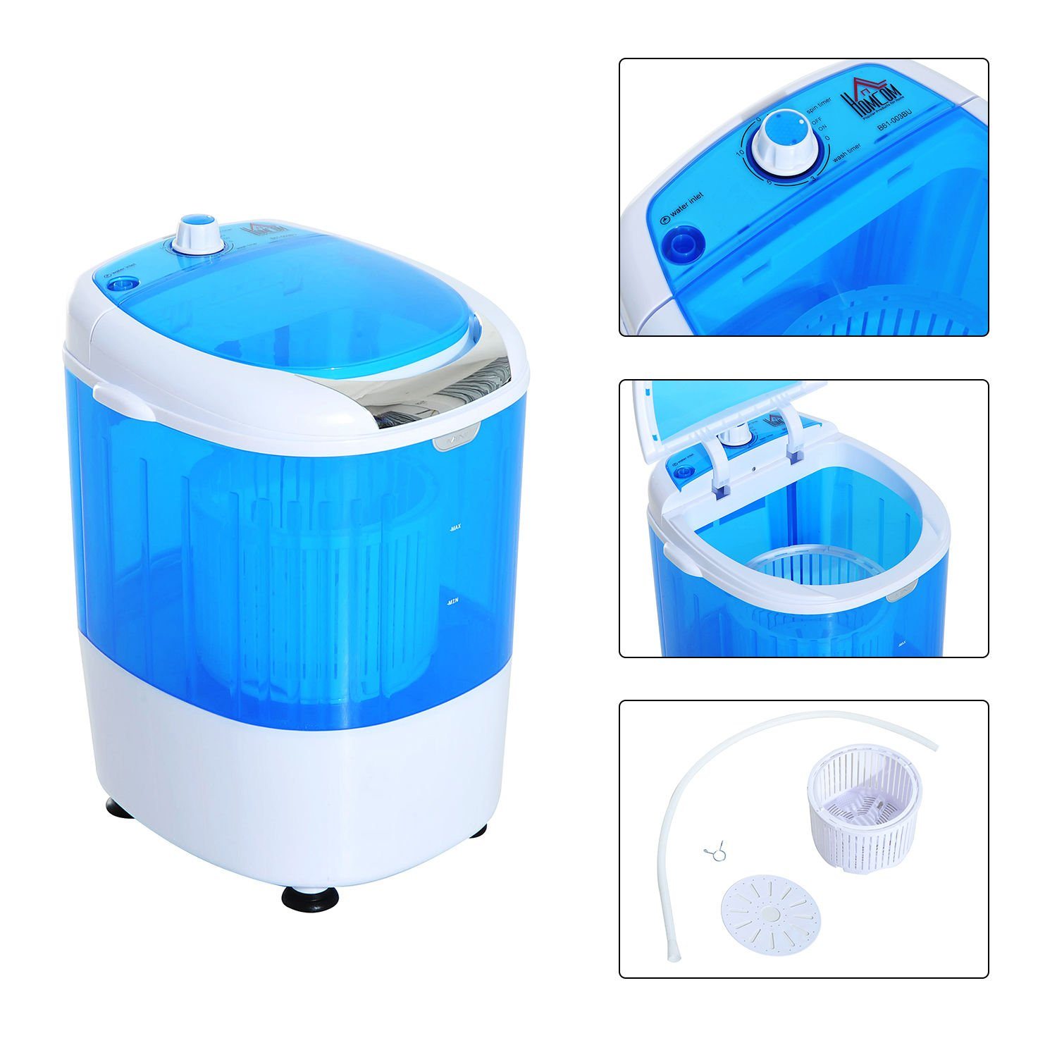 HOMCOM Electric Small Compact Portable Clothes Washer, Washing Machine - Top Load Wash and Spin Dry, for Dorms, College Rooms, RV's - Blue and White RV's - Blue and White