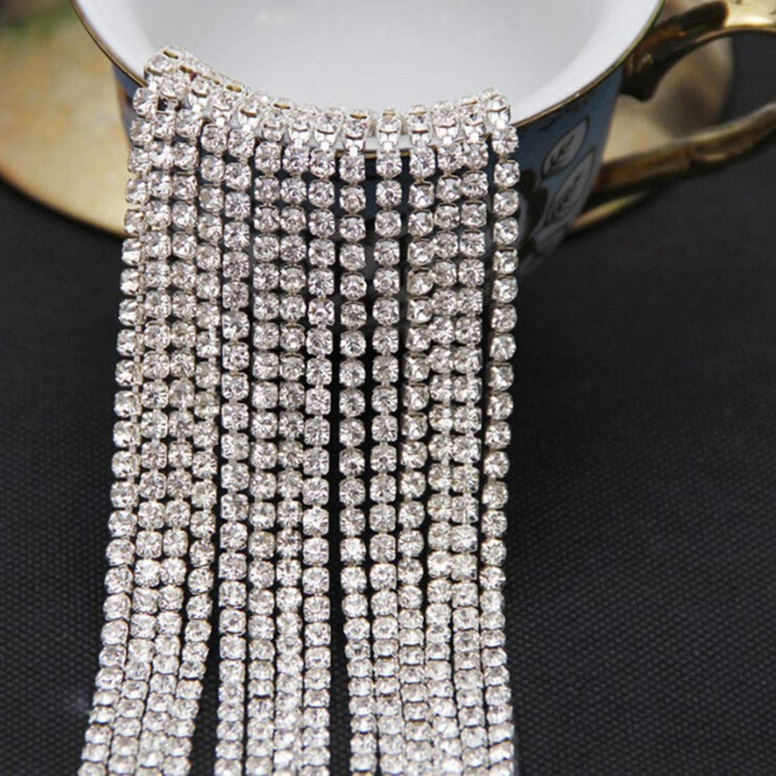 Gold, SS8 30 Feet 10 Yards Crystal Rhinestone Close Chain Sewing Craft Trimming Gold Claw Chain DIY Jewelry Crafts Wedding Party Decoration