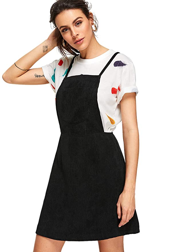 b696ef8d29 MAKEMECHIC Women s Crisscross Back Pocket Corduroy Pinafore A Line Overall  Dress at Amazon Women s Clothing store