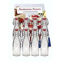 hocz 10er Set Bügelflaschen Bügelflasche Glasflaschen 200ml mit Bügelverschluss zum Selbstbefüllen Bügelflasche Smoothie