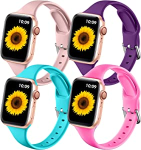 ZAROTO 4 Pack Sport Bands for Apple Watch SE, iwatch Bands for Apple Watch Series 6 44mm Band Series 5/4 Womens, Soft Narrow Band for Apple Watch 42mm Series 3 2 1 Men (Pink/Purple/Teal/Luminous Pink)
