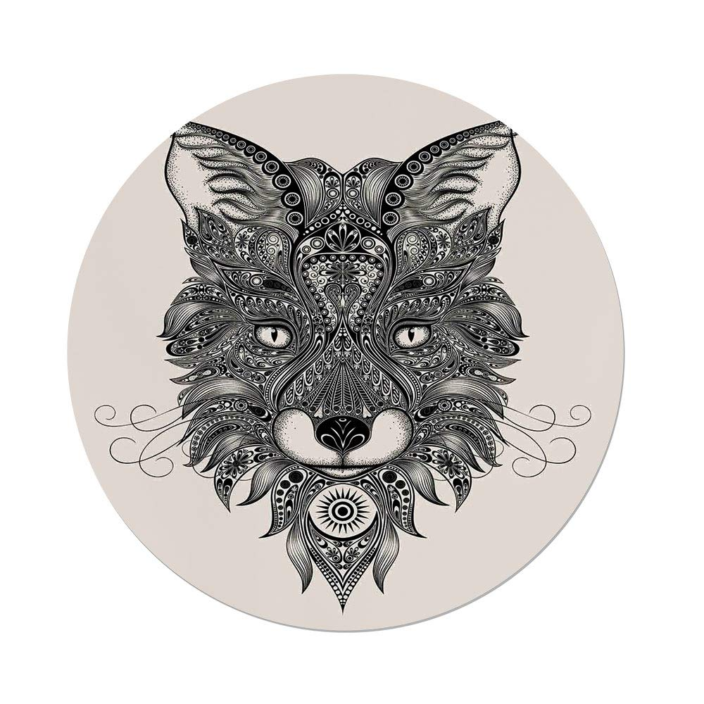 Polyester Round Tablecloth,Celtic Decor,Sharp Eyed Fox Head Portrait Ethnic Mask Celtic Animal Pattern Decor Asian Style Image,Black Ecru,Dining Room Kitchen Picnic Table Cloth Cover,for Outdoor Indo
