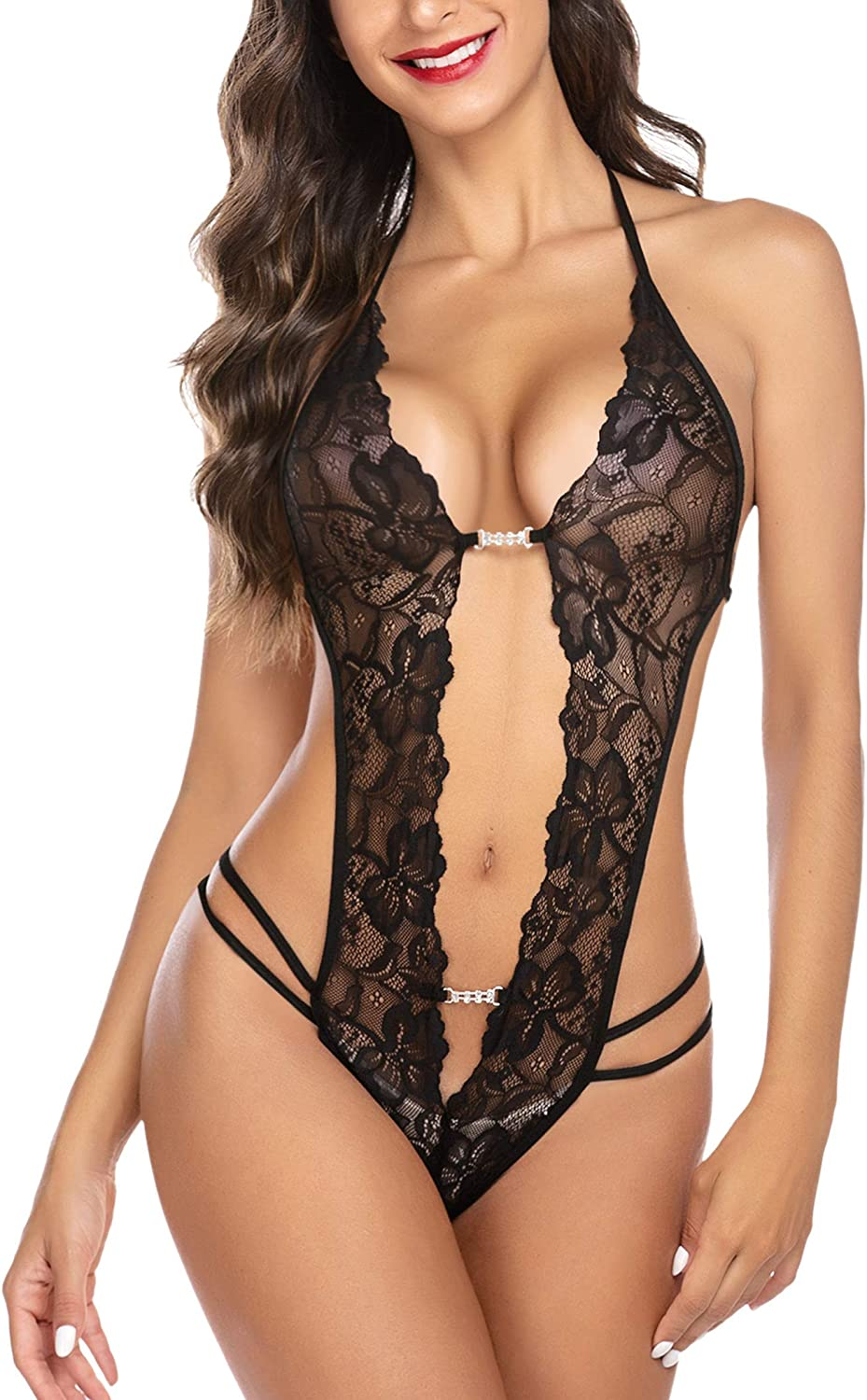 Avidlove Womens One Piece Lingerie Lace Halter Teddy Bodysuit V Neck Babydoll: Clothing