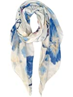 GERINLY Lightweight Shawl Wrap: Womens Pastel Flowers Print Scarves