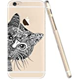 iPhone 5C Case, UCMDA Ultra Thin Soft TPU Gel Case [Transparent] Flexible Rubber Back Cover with Cute Hide and Seek Cat Pattern for iPhone 5C