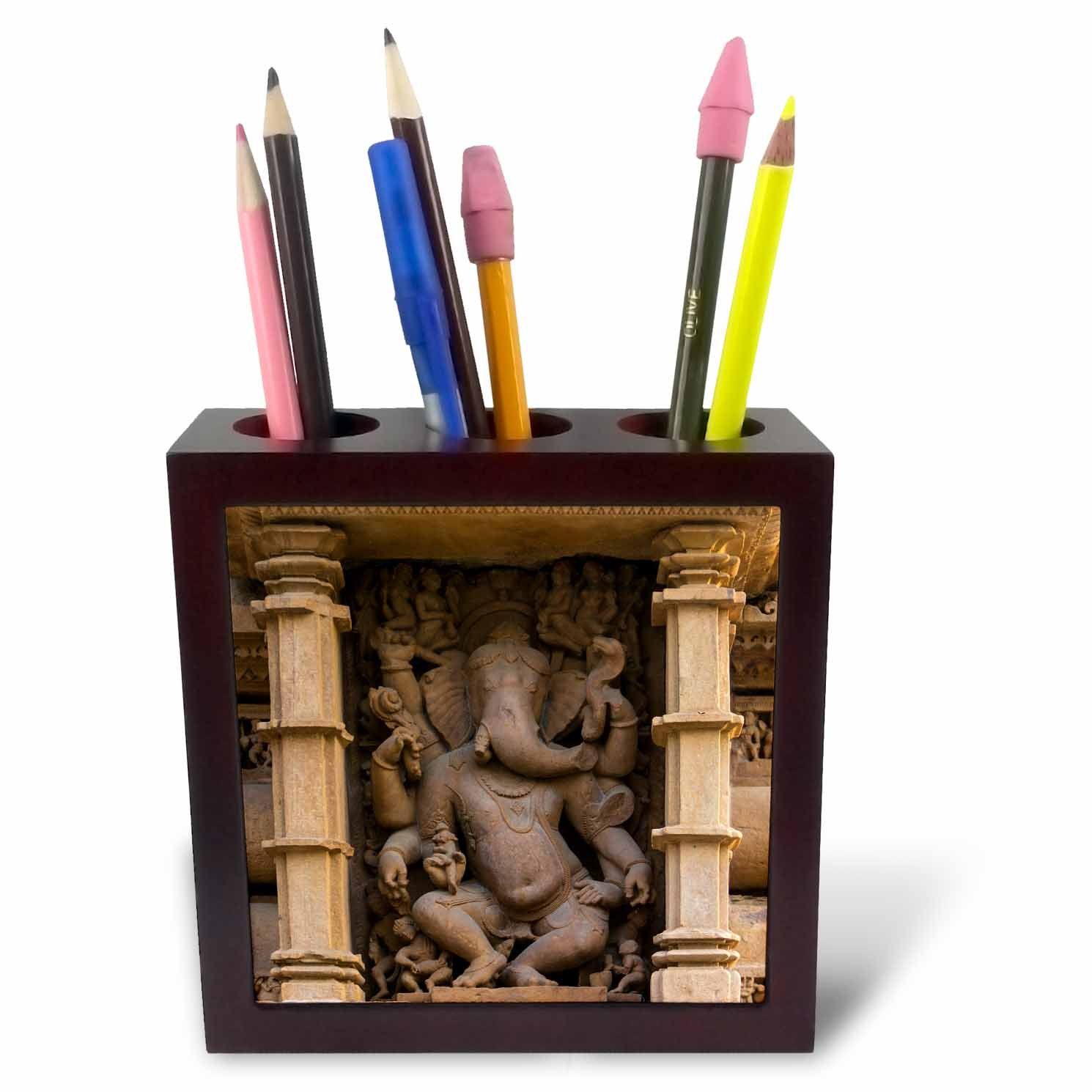 3dRose Danita Delimont - Temples - India. Hindu temples at Khajuraho, elephant deity carving. - 5 inch tile pen holder (ph_276793_1)