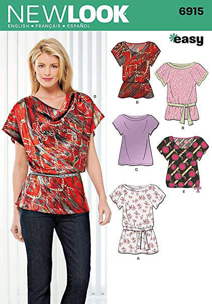 Amazon.com: New Look Sewing Pattern 6915 Misses Tops, Size A (8-10 ...