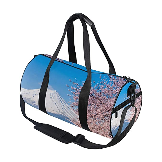 02ed9db42a Sports Bag Fuji and Cherry Blossom Mens Duffle Luggage Travel Bags Kid  Lightweight Gym Bag  Amazon.ca  Luggage   Bags