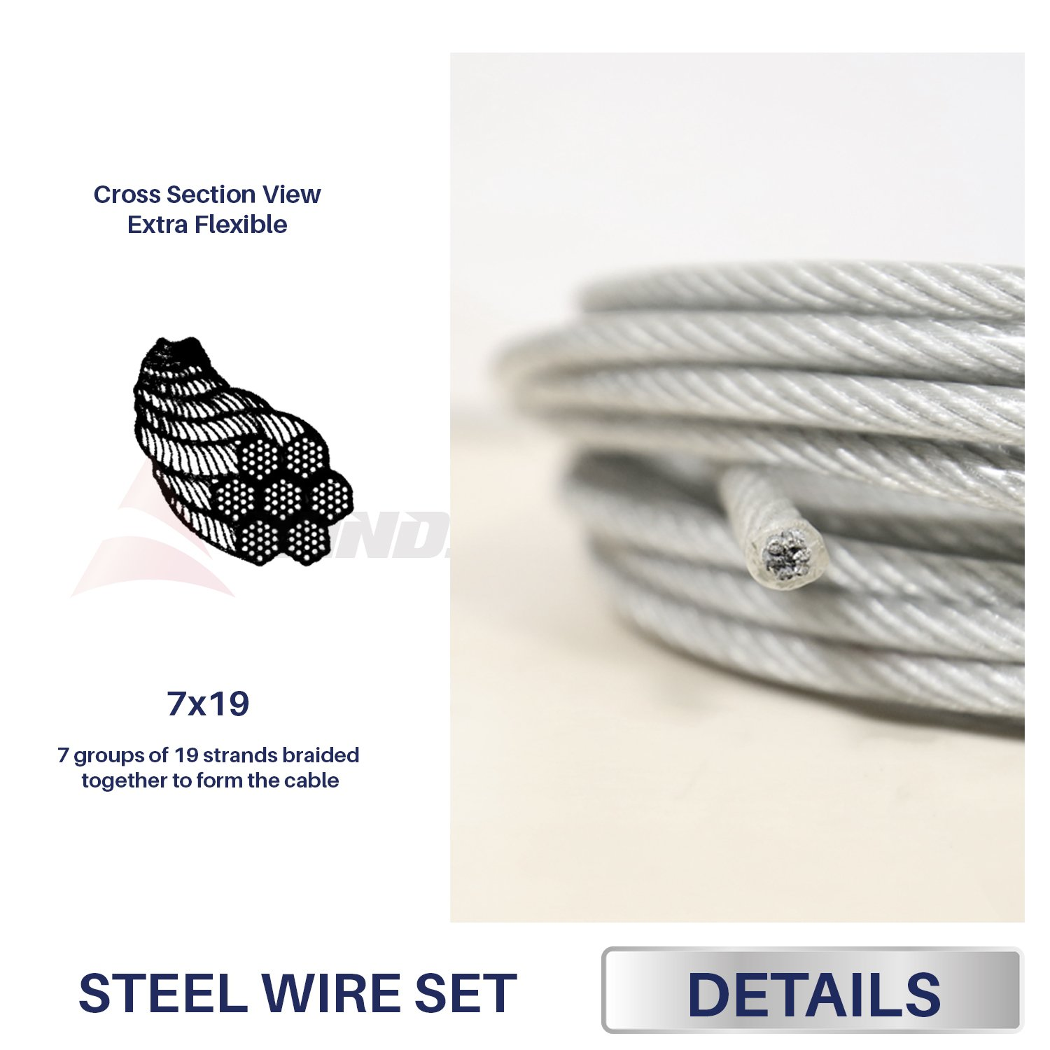 Windscreen4less Shade Sail Wire Rope and 8 Pcs Clips, Vinyl Coated Wire Cable Galvanized Metal Clamp, 3/16-Inch x 120 Feet by Windscreen4less (Image #2)