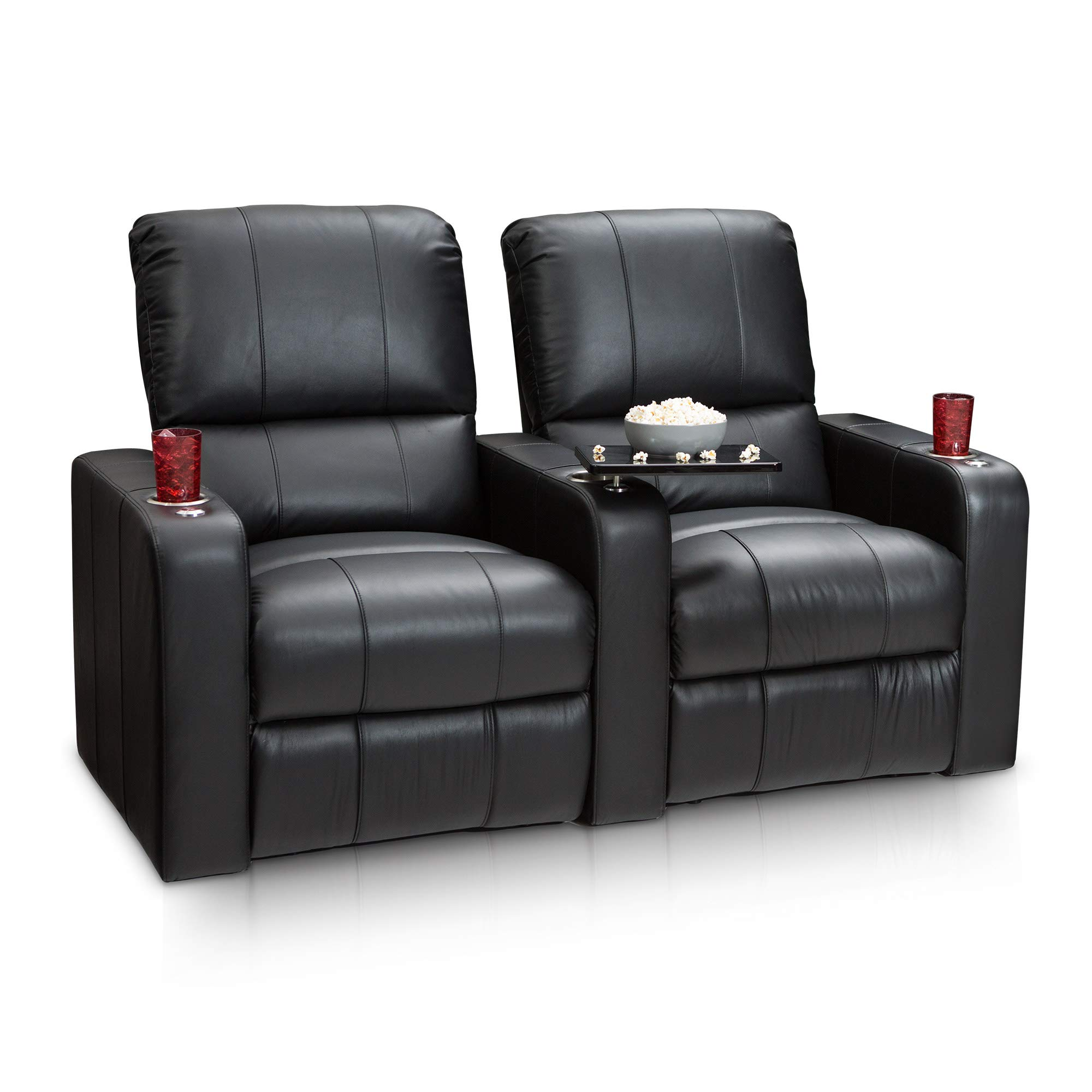 Seatcraft Millenia Home Theater Seating Manual Recline Leather (Row of 2, Black) by Seatcraft