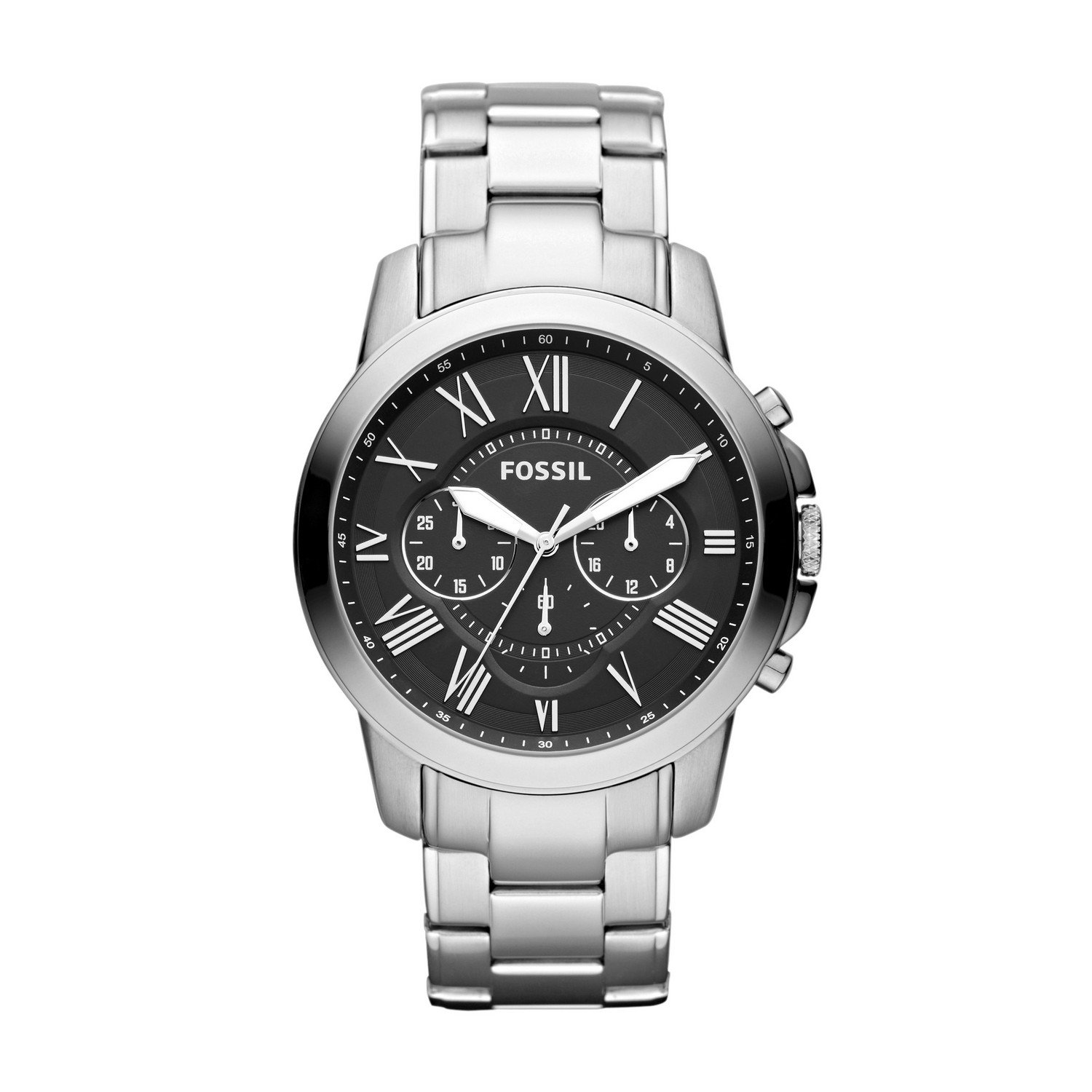 Amazon.com: Fossil Mens Grant Quartz Stainless Steel Dress Watch Color: Silver (Model: FS4736): Fossil: Watches