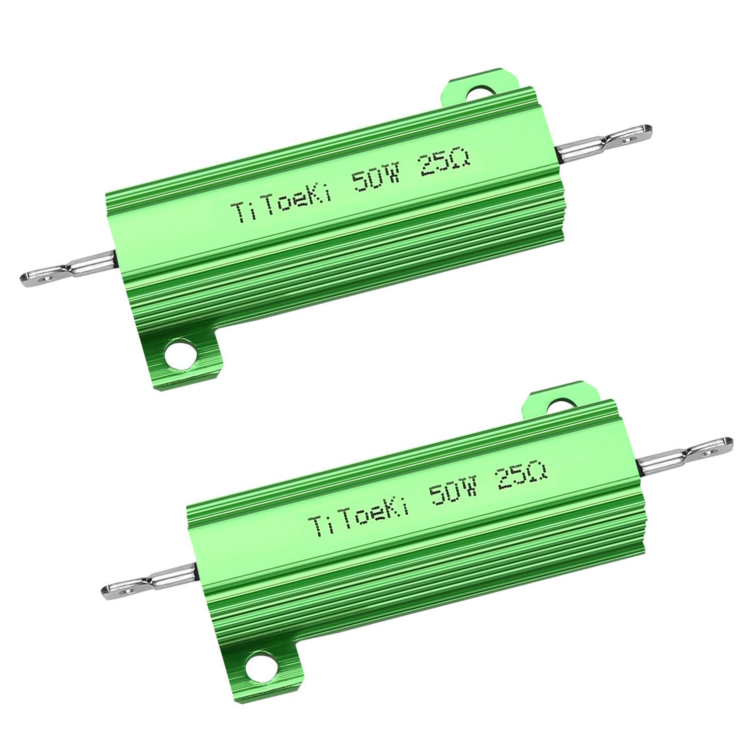 TiToeKi 50W 25 Ohm Resistor Aluminum Case Wirewound Screw Tap Chassis Mounted Load Resistors Compatible with Ring Doorbell, Nest Hello Doorbell 2PCS