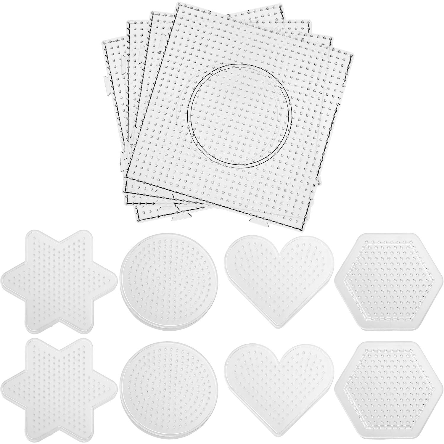 SATINIOR 12 Pieces 5 mm Fuse Beads Boards Clear Plastic Pegboards for Kids Craft Beads Arts Projects, 5 Different Shapes