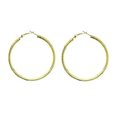 2e7ee50af9b1 Pendientes de aro grandes para ella en color dorado - Mejor regalo para  novia - Pendientes de aro para niña  Amazon.es  Joyería