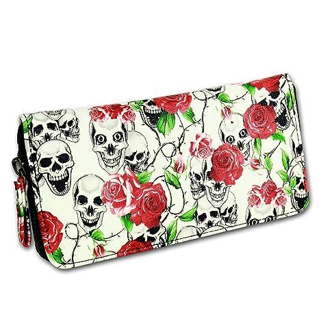 Mujer Monedero (Calaveras + rosas blanco de rojo: Amazon.es ...