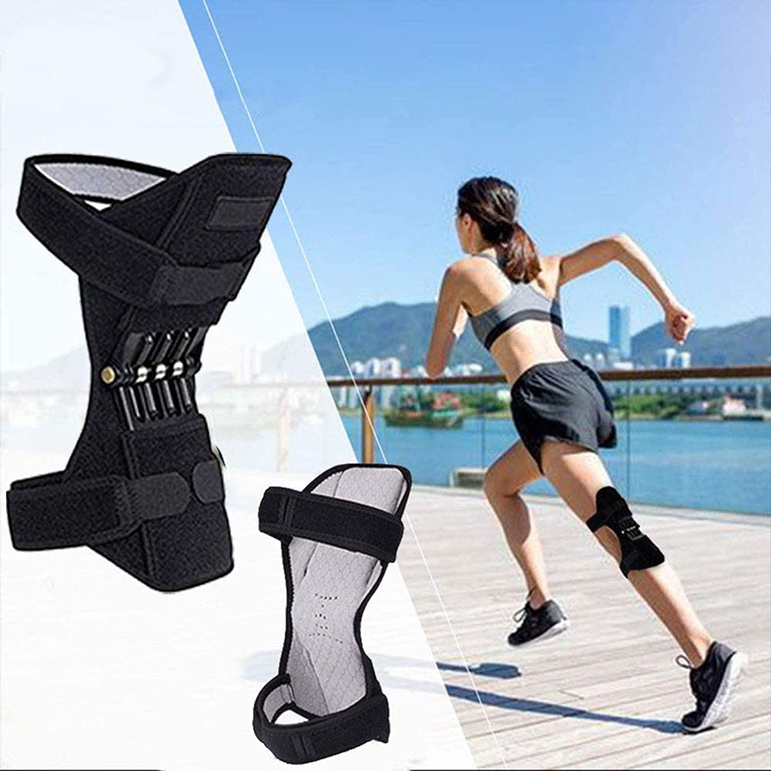 HPDOSH Joint Support Knee Pads Knee Patella Strap Power Knee Stabilizer Pads,Tendon Brace Band Pad for Arthritis Tendonitis Gym 1 Pair Power Lift Spring Force