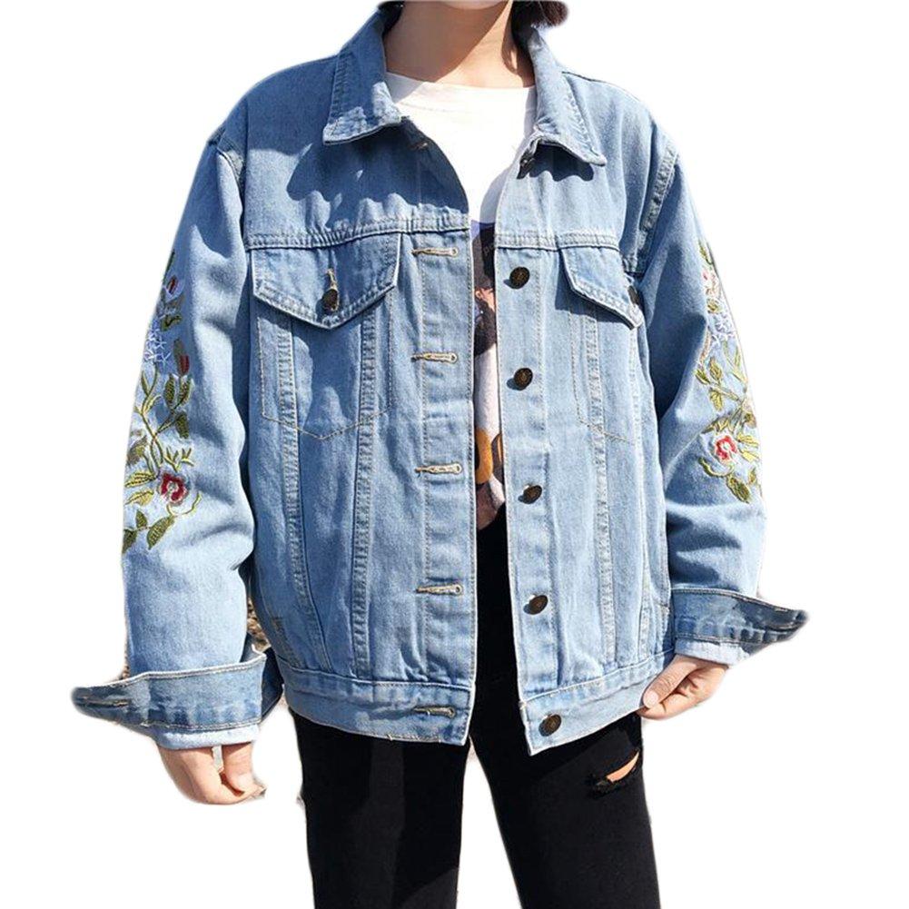 wlsomegoo Womens Floral Embroidered Denim Jacket Boyfriend Loose Outwear Button Front Jean Jacket Blue XL