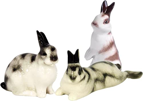 Bunny Rabbit Easter Set 3 pc Lomonosov Porcelain Collectible Figurine