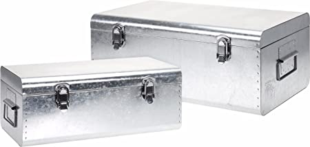 Captivating Set Of 2 Large Silver Storage Boxes Retro Storage Boxes Stowaway Boxes