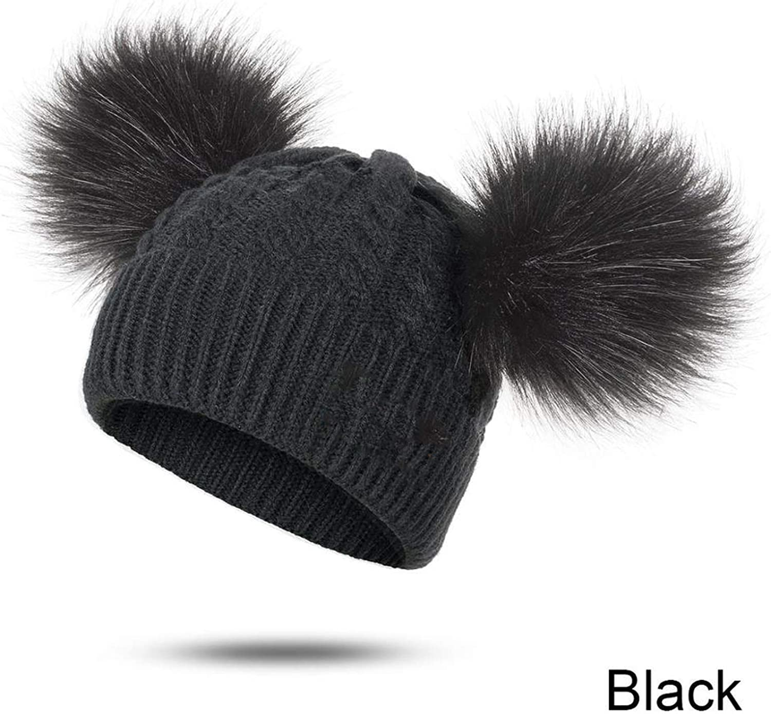 Fur Faux Pompom Caps, Warm Winter Fur Ball Hat/&Scarf Sets for Kids Girls 2 Pieces Set Knitted Unisex Hat