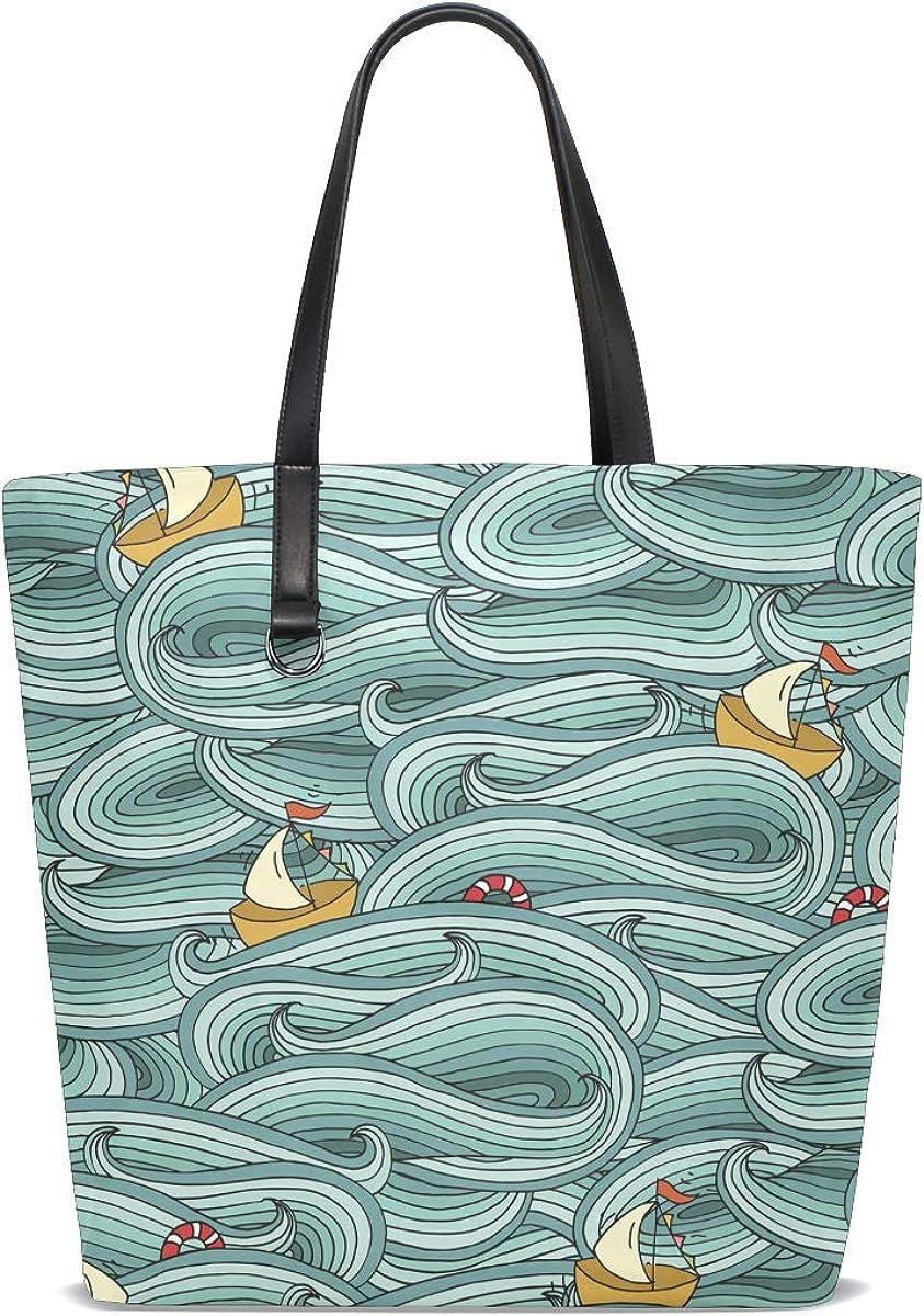 Handbags for Women Ocean Wave Ship Tote Shoulder Bag Satchel for Ladies Girls