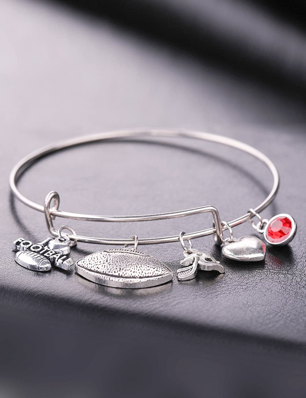 My Shape Fashion I Love Football Wire Bracelet Bangle Birthstone and Helmet Charm Jewelry Gifts for Sports