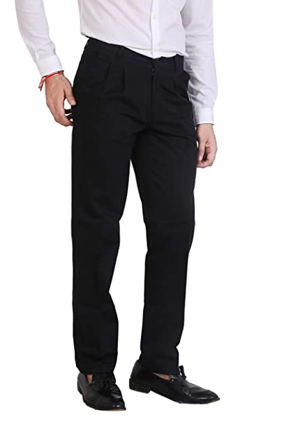 897d084ea0fae asaba Black Comfort fit Non Stretchable Cotton Chinos for Men in Pleated  Front   Cross Pockets