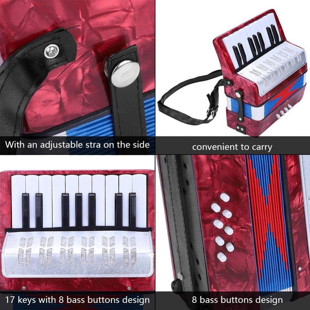 Fisharmonica Mini petit 17 cl/és 8 basses accord/éon /éducatif jouet de musique pour enfants amateurs d/ébutants rouge