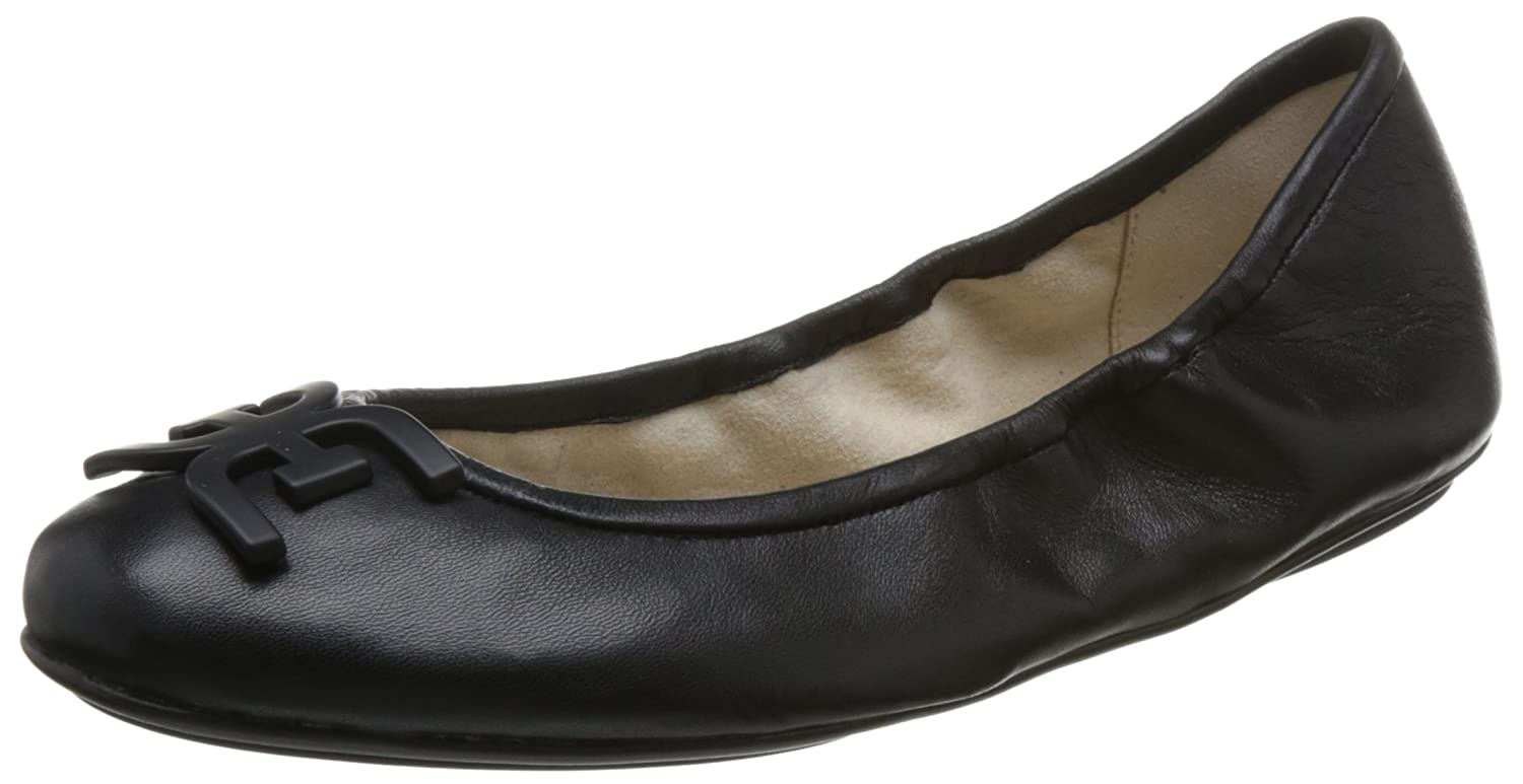 Black Leather Sam Edelman Womens Florence Ballet Flat