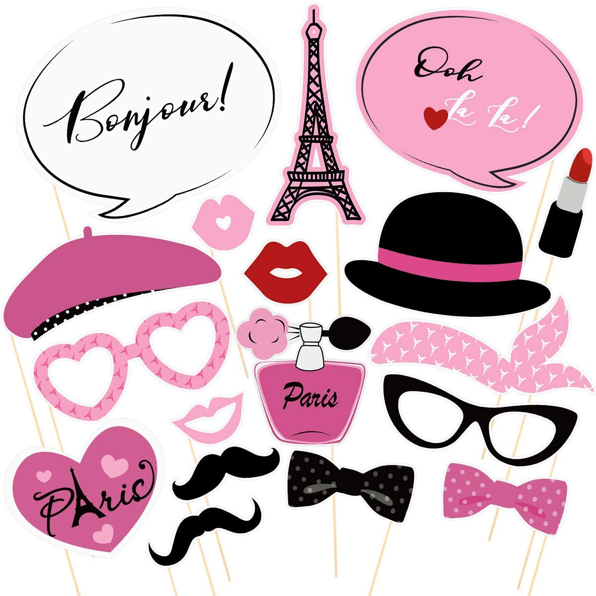Amosfun Paris Photo Props Paris Party Photo Booth Props Kit Paris Temática Decoración French Photo Booth Props, Torre Eiffel, oh la la Party Favors 18PCS