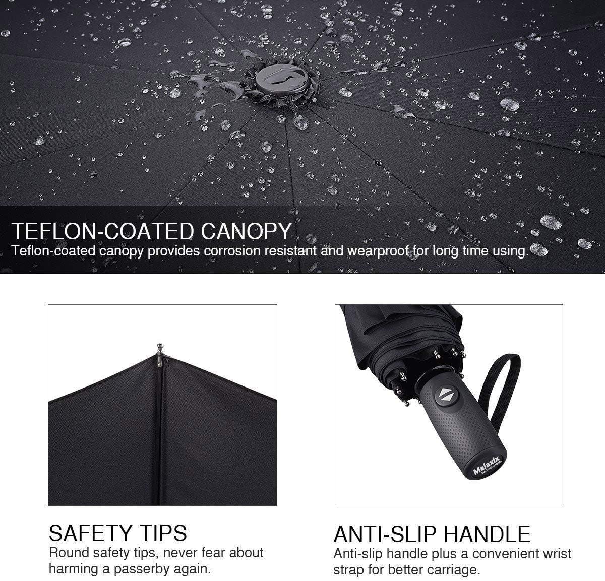 Ouverture et Fermeture Automatique Portable Compact Ultra-l/éger Incassable 10 Nervures 210T T/éflon pour Homme Femme de Voyage(Noir) Malaxlx Parapluie Pliant Coupe-Vent