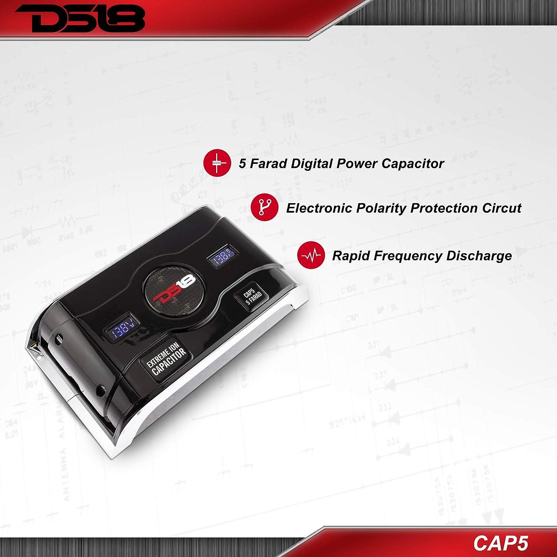 4 Gauge Amp Kit DS18 CAP5 Digital 5 Farad Capacitor Power Amperage Display