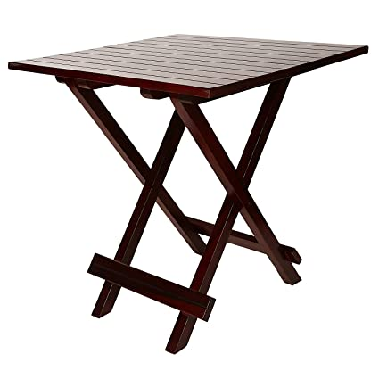 Santosha Decor Solid Sheesham Mahogany Finish with PU Polish Folding Table (Standard)
