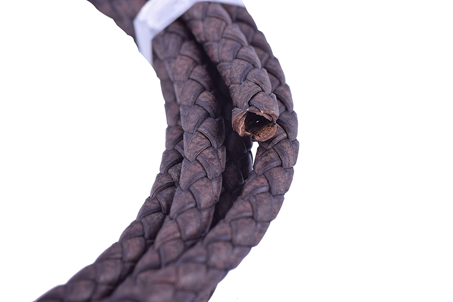 KONMAY 2 Yards 5.0mm Black Genuine Leather Braided Bolo Leather Cord