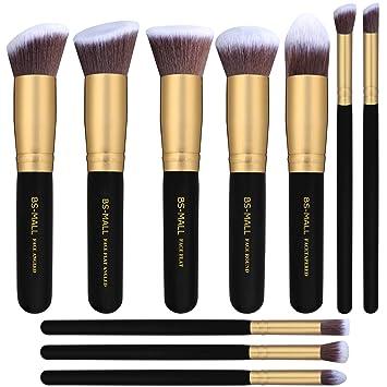 Amazon.com  BS-MALL Makeup Brushes Premium Makeup Brush Set Synthetic  Kabuki Cosmetics Foundation Blending Blush Eyeliner Face Powder Brush  Makeup Brush Kit ... 1b405c479