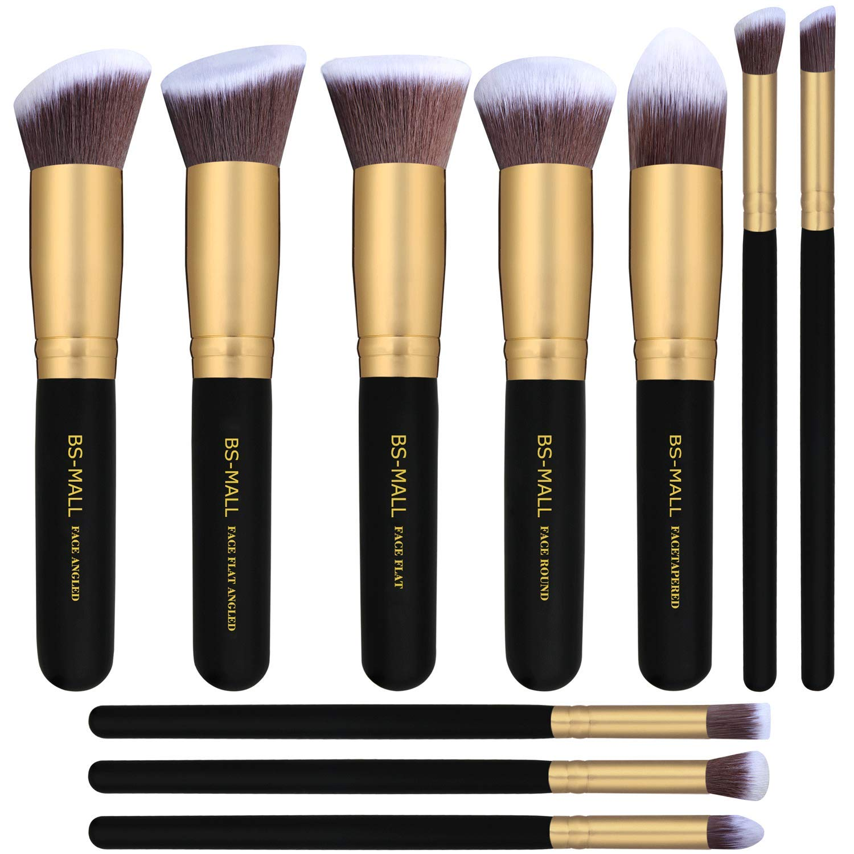 BS-MALL Makeup Brushes Premium Makeup Brush Set Synthetic Kabuki Cosmetics Foundation Blending Blush Eyeliner Face Powder Brush Makeup Brush Kit (10pcs, Golden Black)