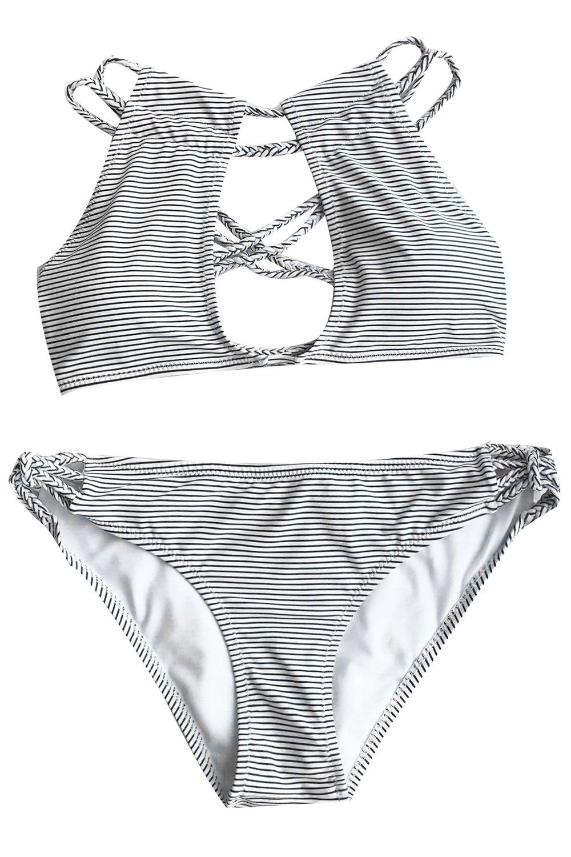 CUPSHE Women's Love More Stripe Bikini Set Beach Swimwear Bathing Suit (S)