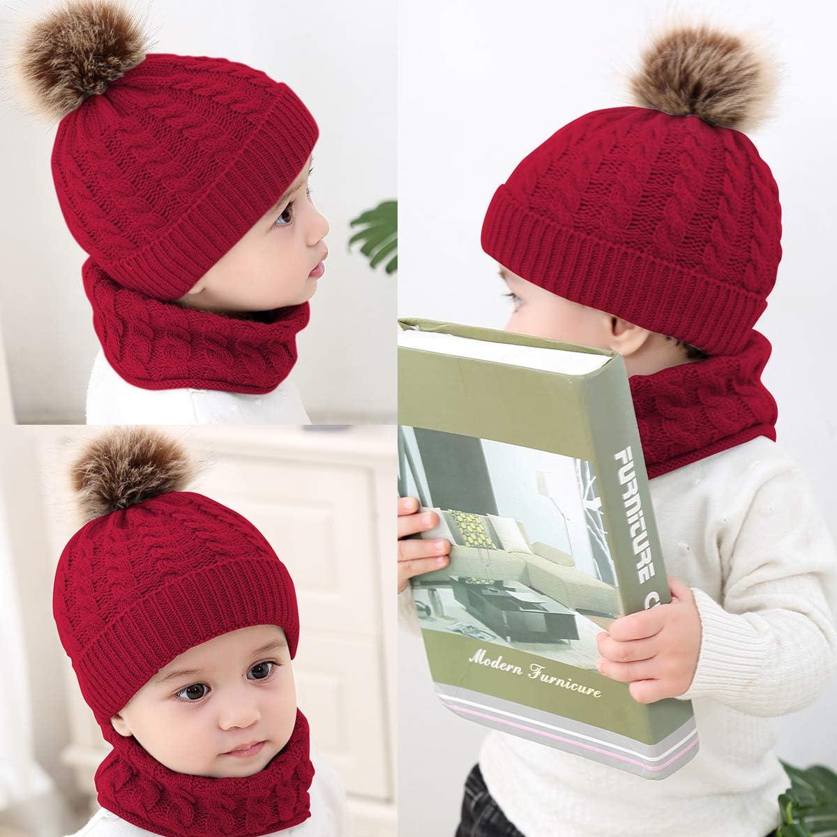 Xingyue Direct Neugeborenes Baby Häkeln Strickmütze Halstuch Kleinkind Kinder Junge Mädchen Kleinkind Winter Warme Gemütliche Mütze Schal Auto