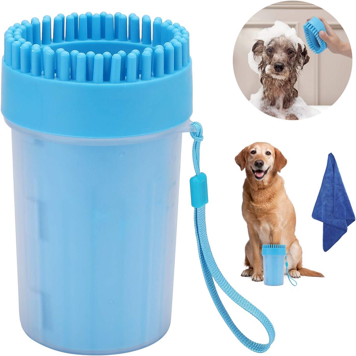 EKKONG Limpiador de Huellas de Perro, Lavadora de pies de Perro, Mascota portátil Limpiador con Toalla para Limpiar Pies Sucios de Mascotas (Azul)