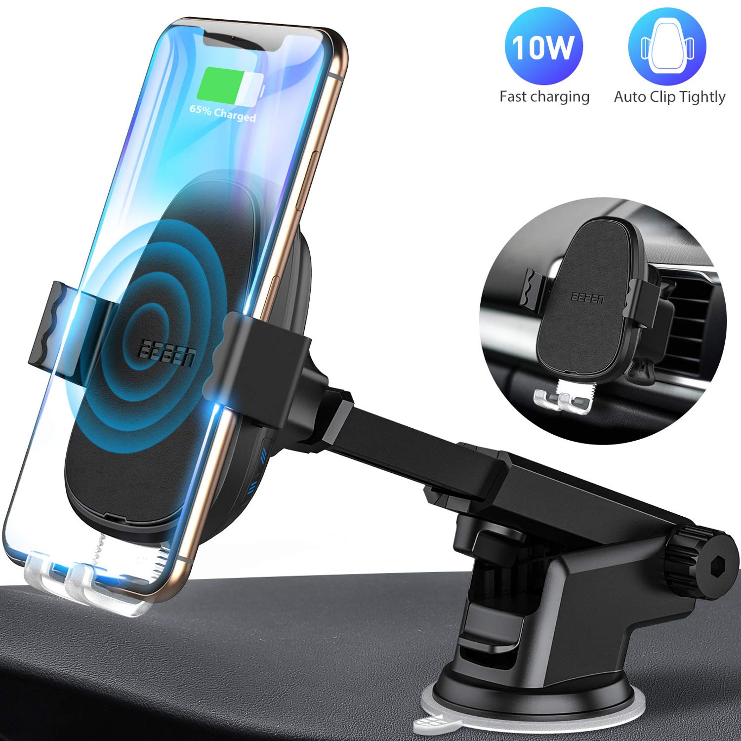 BEBEN Wireless Car Charger Mount, Automatic Clamping Windshield Dashboard Air Vent Phone Holder, Qi Fast Charging Compatible with iPhone Xs Max XR X 8 8+, Samsung and LG (Charger Adapter not Include)