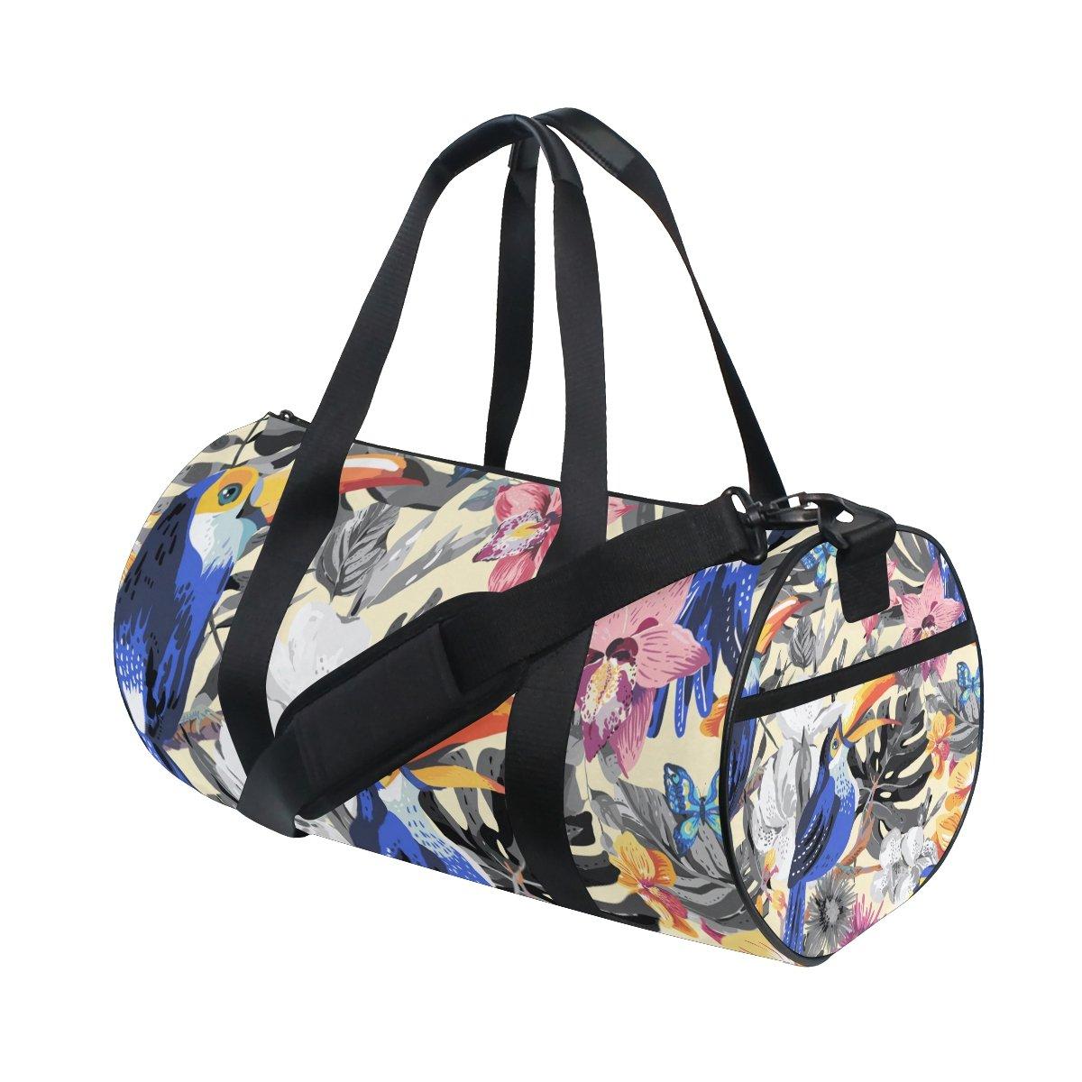 U LIFE Summer Tropical Animals Birds Floral Flowers Sports Gym Shoulder Handy Duffel Bags for Women Men Kids Boys Girls