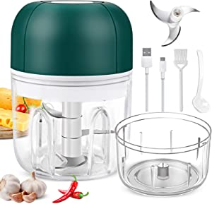Electric Garlic Chopper, Wireless Portable Food Chopper with USB Charging, 250ml +100ml Waterproof Food Processor Mincer, Rechargeable Mini Garlic Masher/Grinder for Chili Onion Vegetable Nuts Meat