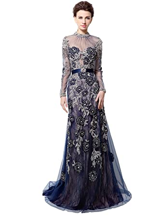 Amazon.com: Clearbridal Women\'s High Neck Long Sleeve Prom Dress ...