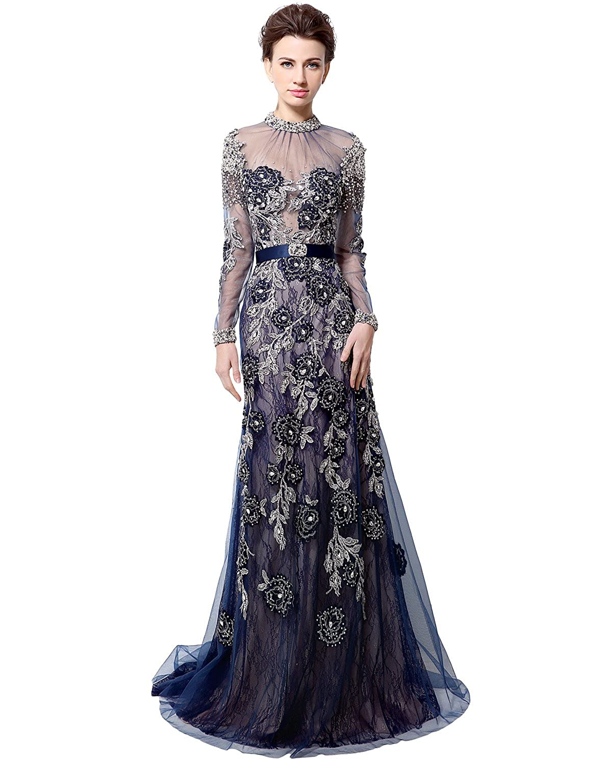 014navy bluee Sarahbridal Womens Lace Prom Dresses Formal Evening Gown with Half Sleeve SD328