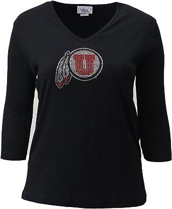 Black Nitro USA NCAA Utah Utes Womens Collegiate Missy Fit 3//4 Sleeve V-Neck Rhinestone Bling Top Medium