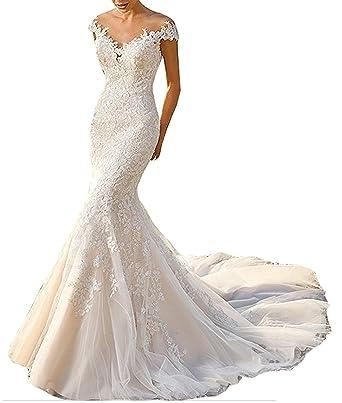 Brautkleider Mit äRmel Aus Spitze | Baixia Trompete Meerjungfrau Spitze Hochzeitskleid Brautkleid